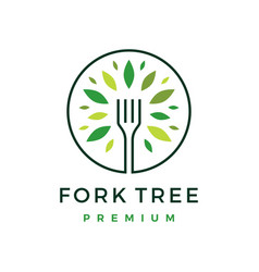 Fork tree food leaf round logo icon vector