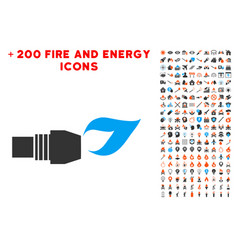 Gas burner nozzle fire icon with bonus flame set vector