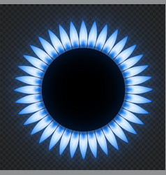 Gas stove flame realistic blue fire light effects vector