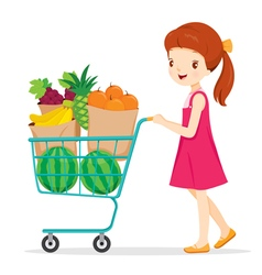 Girl Pushing Shopping Cart With A Lot Of Fruits vector