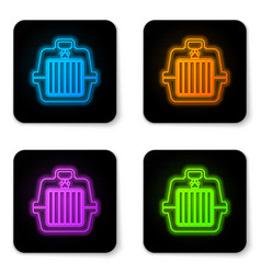 glowing neon pet carry case icon isolated on vector image