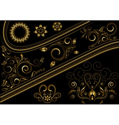 Gold border with pattern and details for design vector image