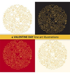 Gold Valentine Day Line Icons Circle Shape Set vector