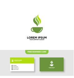 Green tea logo design and business card template vector