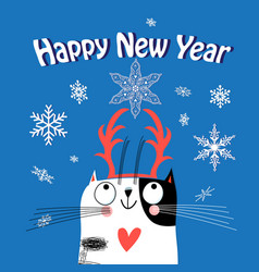 Greeting card christmas with a funny cat vector
