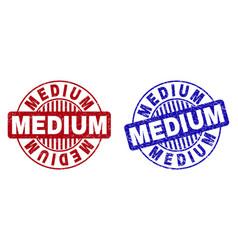 Grunge medium scratched round stamps vector
