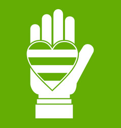 hand holding heart of lgbt icon green vector image