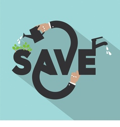 Hands With Save Typography Design vector image