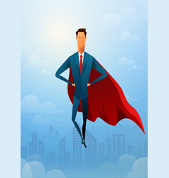 handsome businessman super leader flying in front vector image