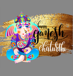 happy ganesh chaturthi indian festival design vector image