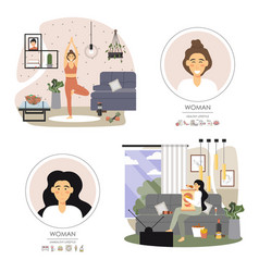 healthy and unhealthy lifestyle set flat vector image