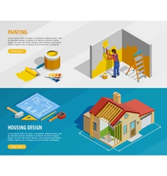Home Renovation Isometric Horizontal Banners vector image