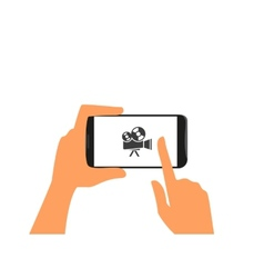 Human hand holds black smartphone with camera vector image