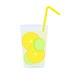 Icon of glass with lemonade straw and citrus vector image