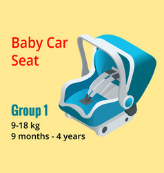 isometric baby car seat group 1 vector image