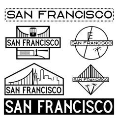 Landmarks of san francisco vintage labels set vector