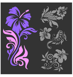 lilly - floral design female tattoo vector image