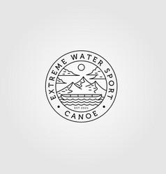 line art canoe logo outdoor adventure minimalist vector image