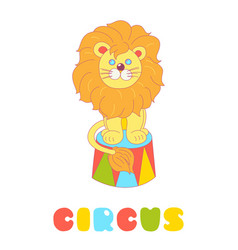 Lion sitting in a circus arena isolated on white vector