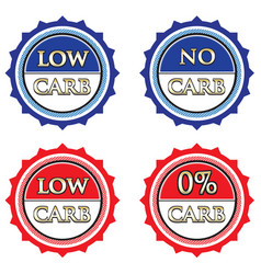 low carb and no carb label set vector image