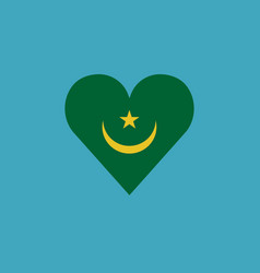 mauritania flag icon in a heart shape in flat vector image