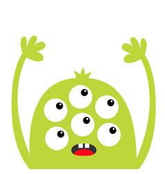 Monster head green silhouette six eyes teeth vector