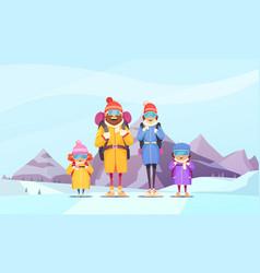 mountaineering family cartoon vector image