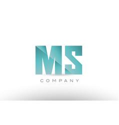 Ms m s alphabet letter green logo icon design vector