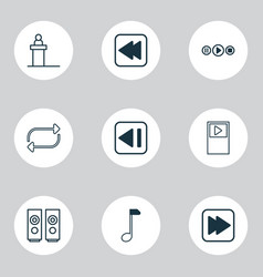 music icons set with previous music note audio vector image