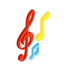 Music notes isometric 3d icon vector image