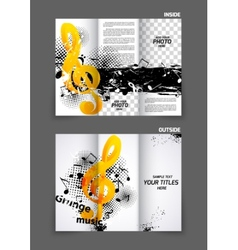 Music tri fold brochure vector