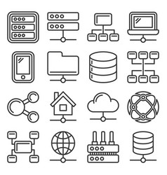 network icons set on white background line style vector image