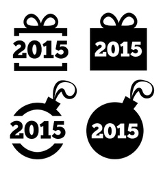 New Year 2015 icons black icons set vector image