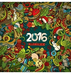 New Year doodles elements frame background vector
