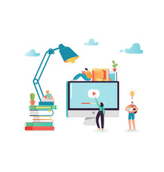 online education concept with students characters vector image