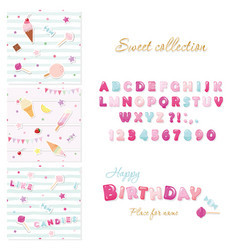 Party design elements set candy font design and vector