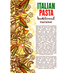 pasta sketch banner with italian macaroni border vector image