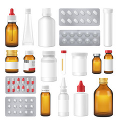 Pharmaceutical bottles packs pills realistic set vector