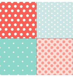 Polka dot colorful painted seamless patterns set vector image