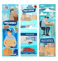 post mail delivery working postman vector image