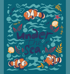 poster with fish clowns and an inscription under vector image