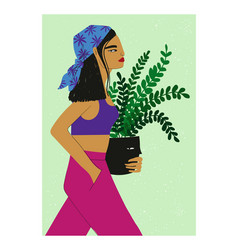 Poster with walking and holding plant pot asian vector