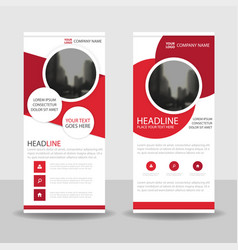 Red circle roll up business brochure flyer vector