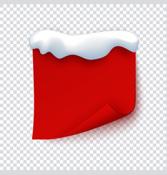 red paper banner with snow cap curled corner page vector image
