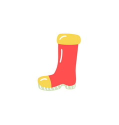 Rubber boot in red and yellow colors for rainy vector