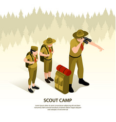 scout camp isometric background vector image