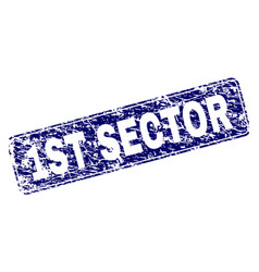 scratched 1st sector framed rounded rectangle vector image