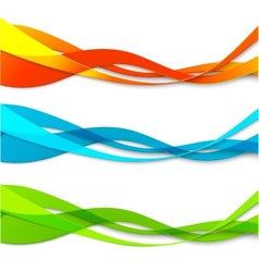 Set abstract color wavy lines vector