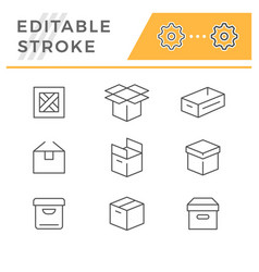 set editable stroke line icons box vector image
