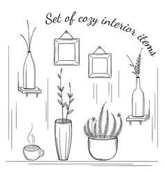 set of cozy interior items vector image